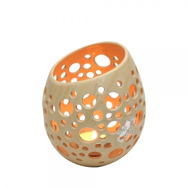 Keramik Ei mit Löchern, Champagner 11,5 x 11,5 x 12,5 cm