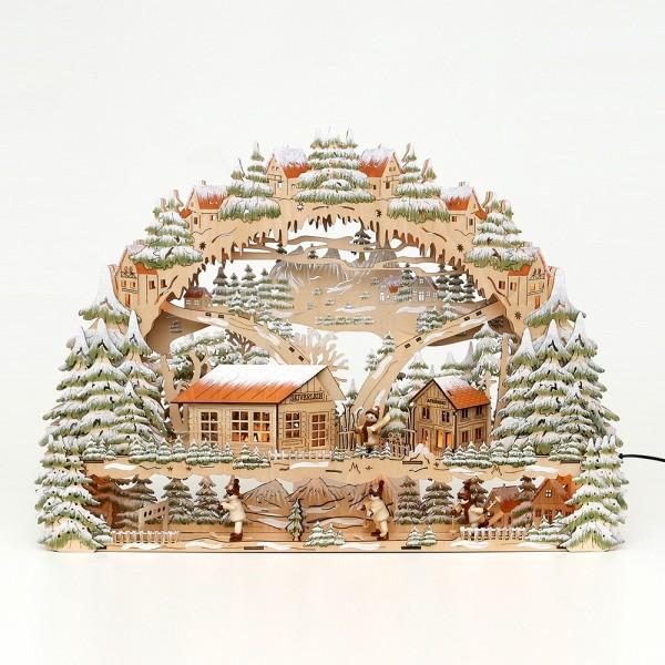 Holz Schwibbogen mit Bank Wintersport mit Skifahrer-Figuren (Laserholz) 63 x 9 x 45 cm Batteriebetrieb AA, inkl. Adapter 4,5 V, LED, XL
