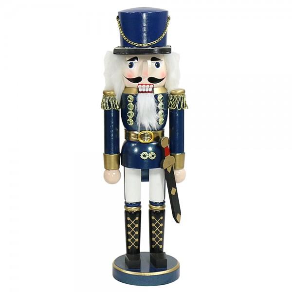 Holz Nussknacker Soldat, blau metallic 10 x 9 x 35 cm