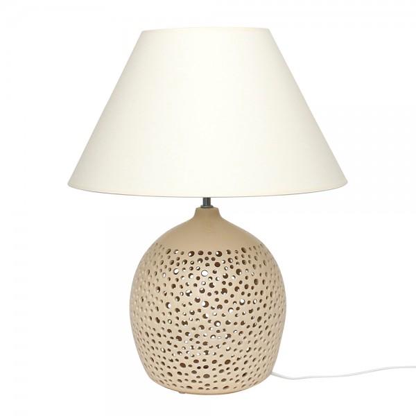 Keramik Tischlampe Moon (Leuchtmittel nicht enthalten), Champagner 45 x 45 x 56 cm 230 V Kabel, E14, E27