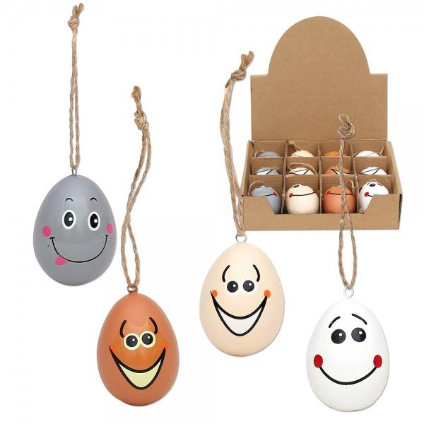 Keramik Eier mit Gesicht mit Anhänger 4-fach sort. 4 x 4 x 6 cm im Set