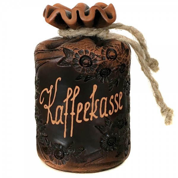 Keramik Sparsack Kaffeekasse, braun 8,5 x 8,5 x 14,5 cm
