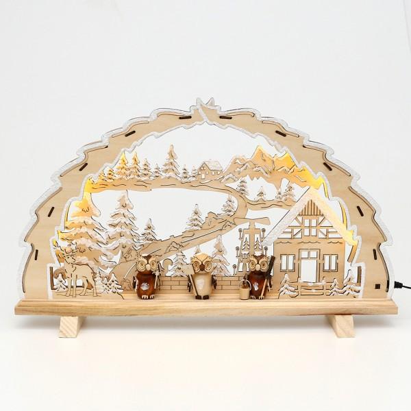 Holz Schwibbogen Waldmotiv mit Eulen-Figuren 42 x 4,5 x 25,5 cm inkl. Adapter 4,5 V, LED