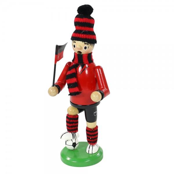 Holz Räucherfigur Fußballer, rot/schwarz 7 x 8 x 24 cm