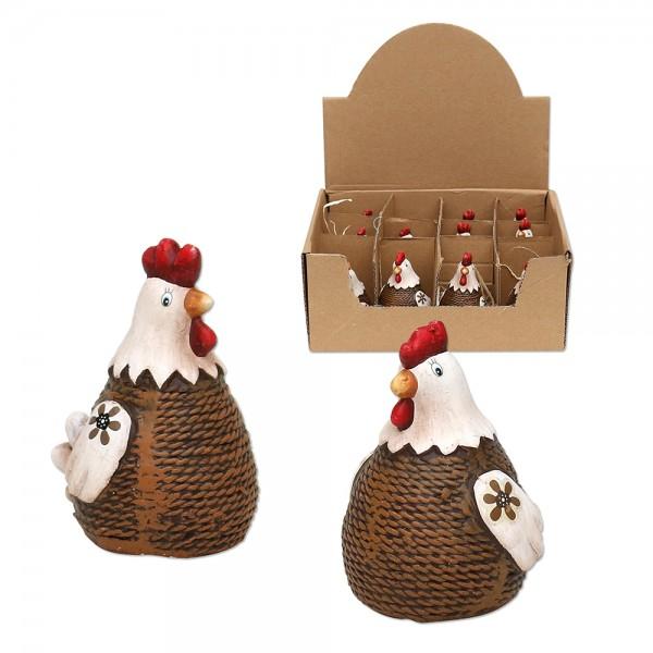 Keramik Hühner, braun/creme 2-fach sort. 4,5 x 5 x 7 cm im Set