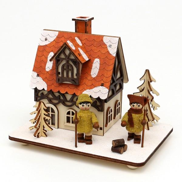 Holz Räucher-Fachwerkhaus mit Moosma & Moosfra 16 x 11,5 x 13,5 cm LED
