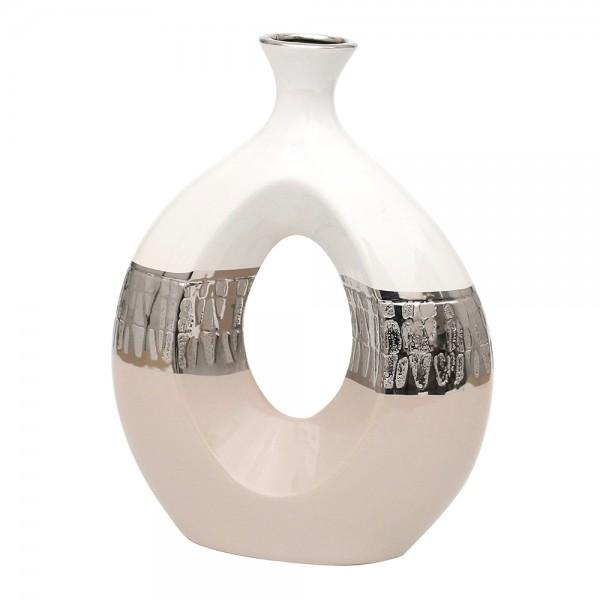 Keramik Vase Cappuccino dick oval mit Loch silber/weiß 22 x 8 x 28,5 cm