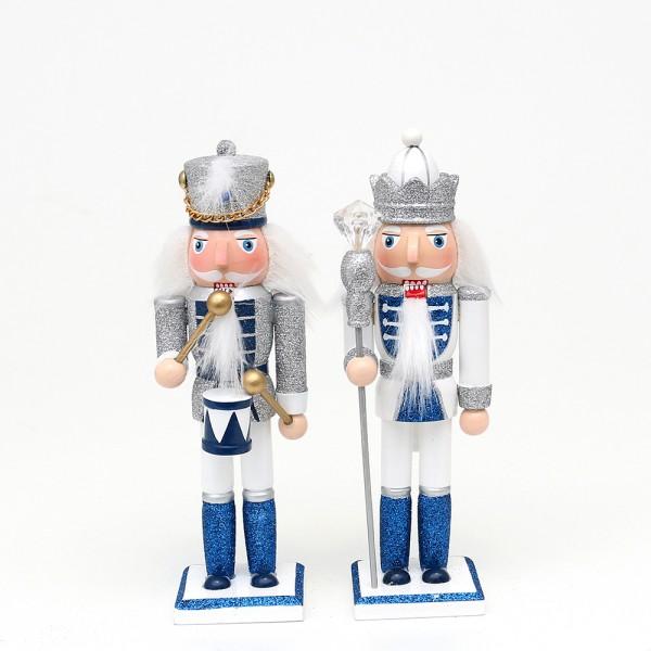 Holz Nussknacker König/Trommler mit Glitter, silber/weiß/blau 2-fach sort. 6 x 5,5 x 18 cm im Set