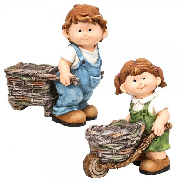 Keramik Kind mit Schubkarre als Pflanzpot 2-fach sort. 34,5 x 19,5 x 37 cm Ø 12 cm MGO im Set