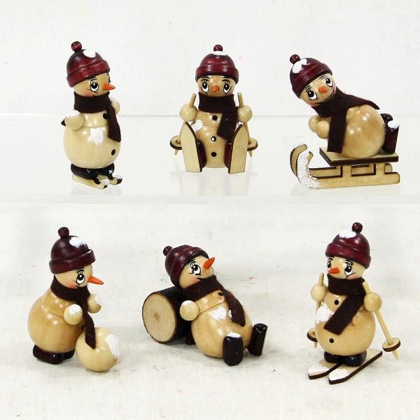 Holz Schneemann mit Schnee 6-fach sort. 3,5 x 4,5 x 6 cm im Set