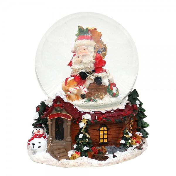 Polyresin Schneekugel Weihnachtsmann auf Schornstein 12 x 13,5 x 14,5 cm Ø 10 cm Spielwerk Here comes Santa Claus