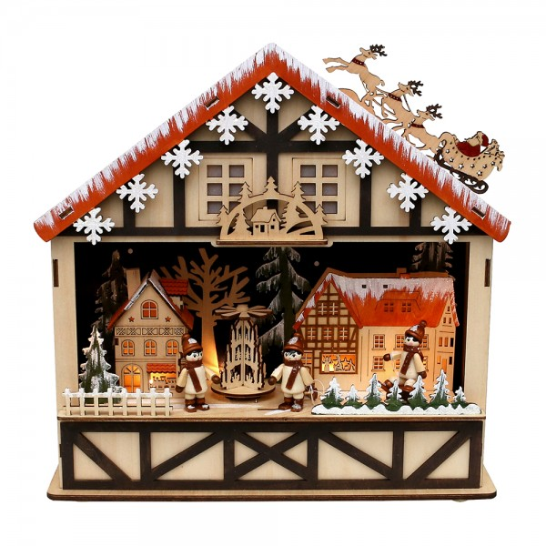 Holz LED-Fachwerkhaus Stadt mit drehender Pyramide & spielenden Kindern (Laserholz) 34 x 10 x 34 cm Batteriebetrieb AA, LED, Bewegung, Sound