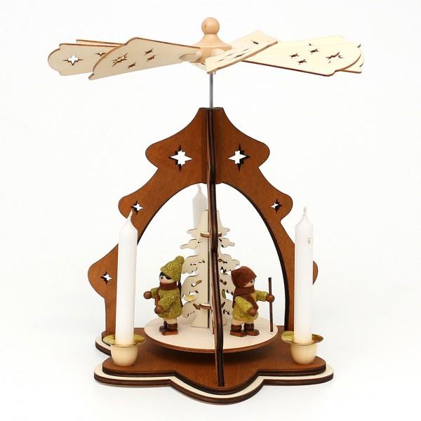 Holz Tischpyramide Baum braun, mit Moosma & Mossfra (Laserholz) für 4 Pyramidenkerzen 19,5 x 19,5 x 26 cm
