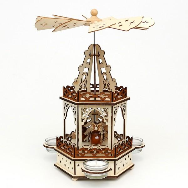 Holz Teelichtpyramide Eulenwald 2 Etagen (Laserholz) für 3 Teelichte 16,5 x 14,5 x 33 cm