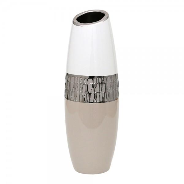 Keramik Vase Cappuccino lang silber/weiß mit schräger Öffnung 12,5 x 12,5 x 37 cm