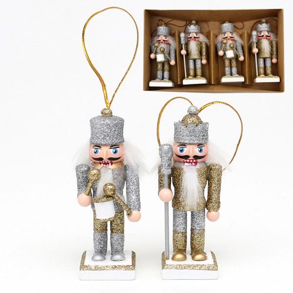 4er Set Holz Nussknacker König/Trommler mit Glitter mit Anhänger, silber/weiß, gold/weiß 2-fach sort. 3,5 x 3,5 x 8 cm im Set