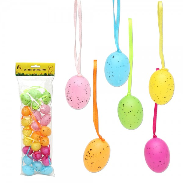 24er Set Plastik Eier mit Anhänger, bunt 6-fach sort. 3 x 3 x 4 cm im Set