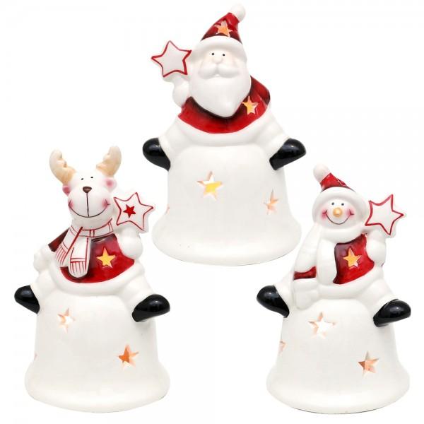 Dolomite Weihnachtsmann / Schneemann / Rentier auf Glockenwindlicht weiß/rot, glasiert 3-fach sort. 8,8 x 8,2 x 13,1 cm im Set