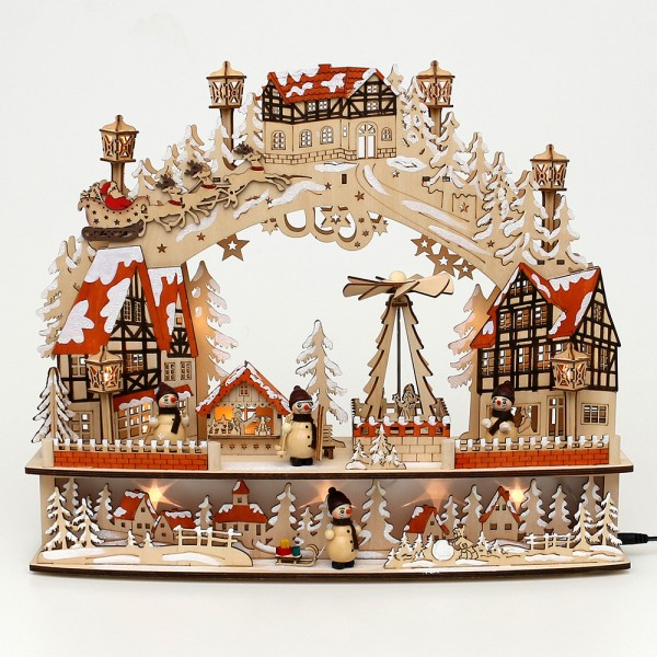 Holz Schwibbogen Altstadt mit drehender Pyramide & Schneemannfiguren (Rückseite verziert)(Laserholz) 45 x 12 x 38 cm Batteriebetrieb AA, inkl. Adapter 4,5 V, LED, Bewegung, Sound