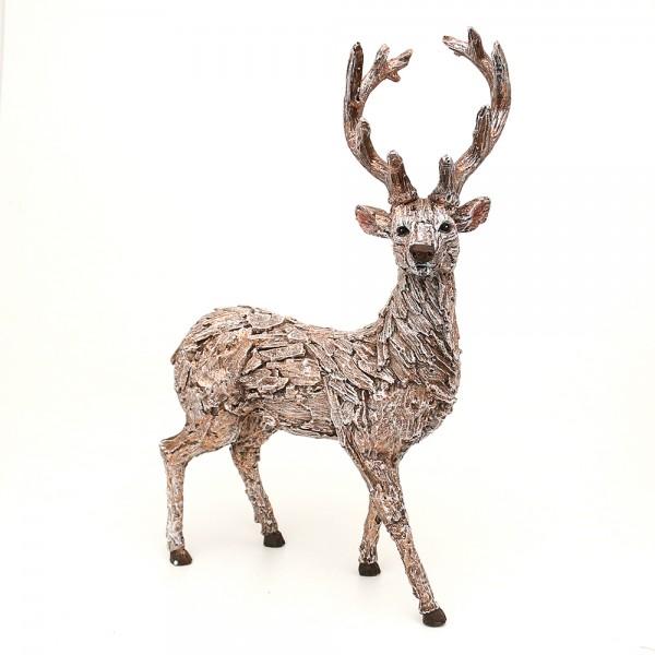 Polyresin Hirsch in Rindenoptik, stehend, mit Glitter 30 x 12,5 x 45 cm