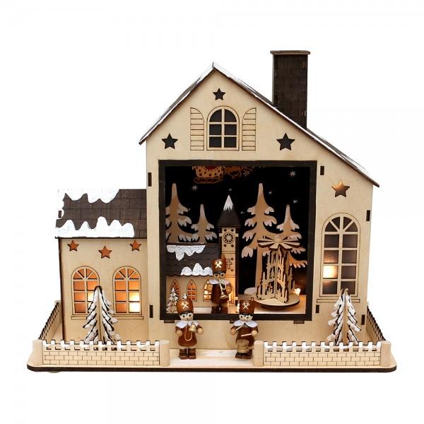 Holz LED-Haus Winterdorf mit drehender Pyramide & Bergmannfiguren (Laserholz) 35 x 14 x 30 cm Batteriebetrieb AA, LED, Bewegung, Sound