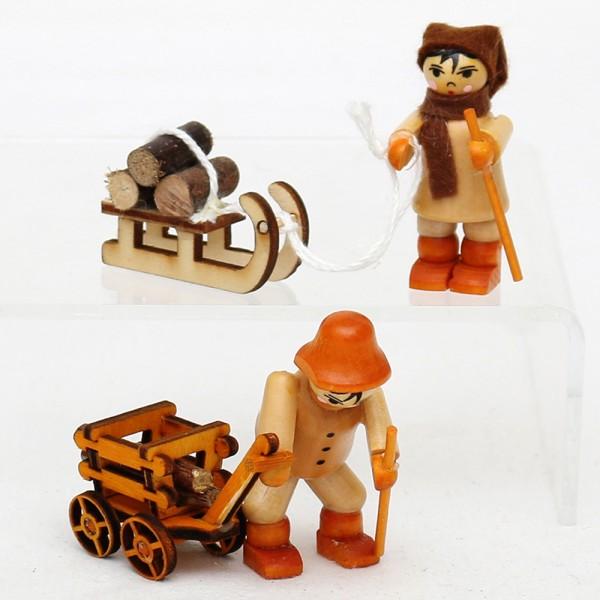 2er Set Holz Figur Holztransport mit Schlitten & Wagen 2,5 x 6,5 x 5,5 cm