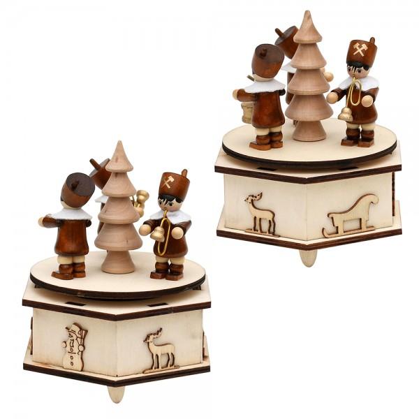 Holz Spieldose klein mit Bergmannfiguren (Laserholz) 2-fach sort. 11 x 11 x 13 cm Spielwerk Stille Nacht, Spielwerk White christmas im Set