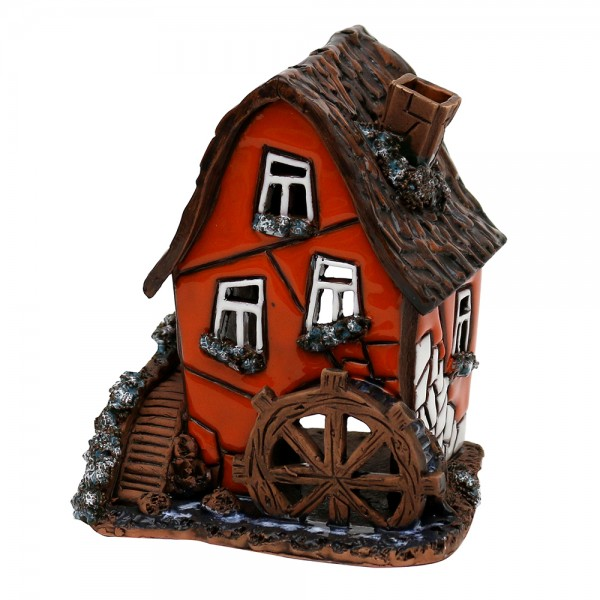 Keramik Licht-Duftölhaus (in Schornstein) Wassermühle orange 9,5 x 9 x 11 cm