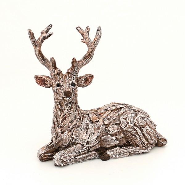 Polyresin Hirsch in Rindenoptik, liegend, mit Glitter 22,5 x 12,5 x 20,5 cm