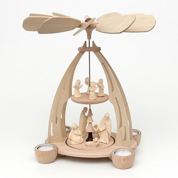 Holz Tischpyramide Heilige Familie aus Südtirol mittel für 4 Teelichte 20 x 24 x 35 cm