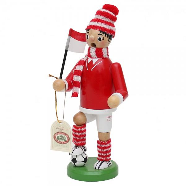 Holz Räuchermann Fußballer, rot/weiß 9 x 7 x 24 cm