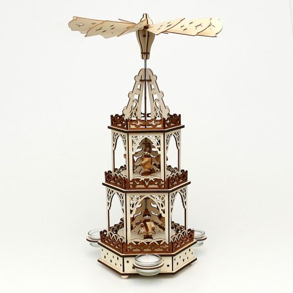 Holz Teelichtpyramide Laternenkinder 3 Etagen (Laserholz) für 3 Teelichte 19 x 16,5 x 42 cm