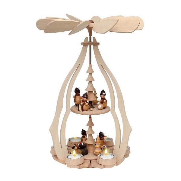Holz Tischpyramide Schneemannfiguren groß für 6 Teelichte 24 x 24 x 45 cm