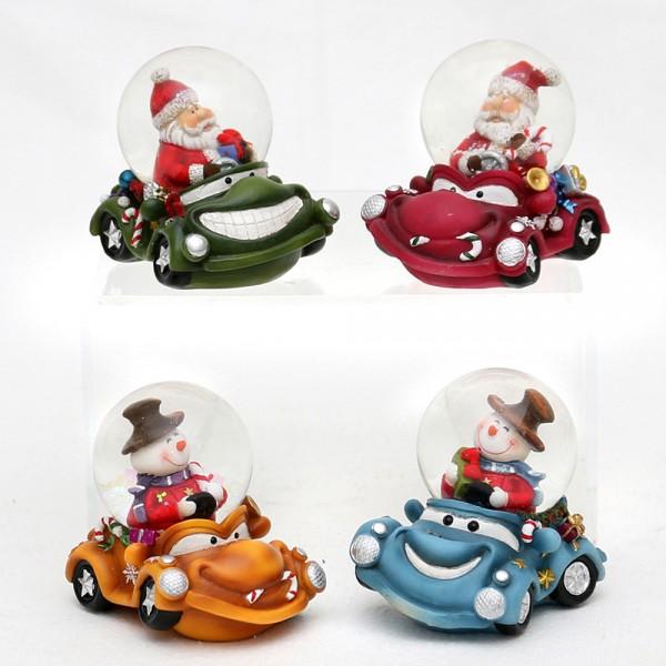 Polyresin Schneekugel lustige Autos mit Schnee-& Weihnachtsmann 4-fach sort. 7,5 x 5,5 x 7 cm Ø 4,5 cm im Set