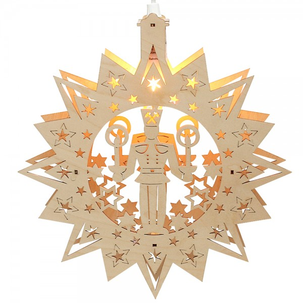 Holz Fensterbildstern Bergmann (Laserholz) 31 x 5 x 31 cm 230 V Kabel, E14