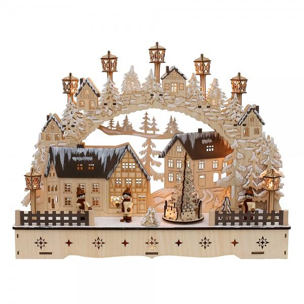 Holz Schwibbogen Stadt verschneit mit bewegtem Weihnachtsbaum & Laternenkindern (Laserholz) 45 x 12 x 34 cm Batteriebetrieb AA, inkl. Adapter 4,5 V, LED, Bewegung