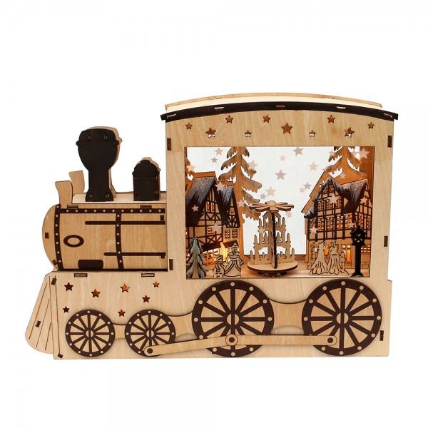 Holz LED-Szene Lokomotive mit Weihnachtsstadt, drehender Pyramide & Räucherfunktion (Laserholz) 36 x 8,5 x 25 cm Batteriebetrieb AA, LED, Bewegung