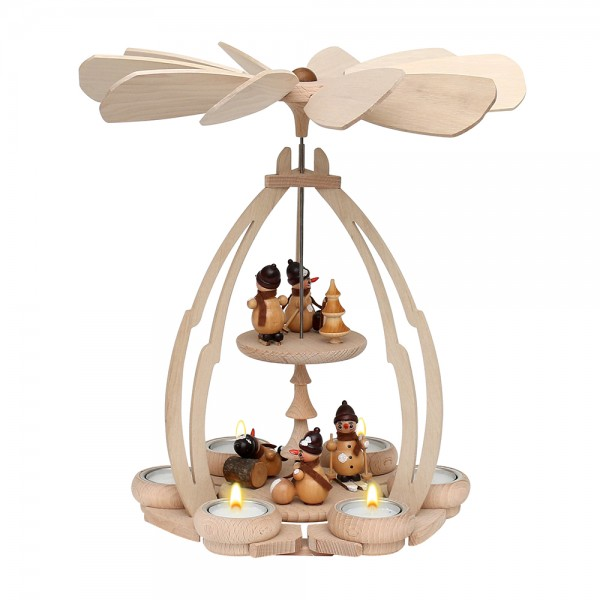 Holz Tischpyramide Schneemannfiguren mittel für 6 Teelichte 24 x 24 x 35 cm