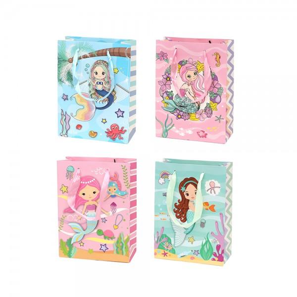 Papier Tragetasche Meerjungfrau mit Glitter 4-fach sort. 18 x 8 x 24 cm 3D im Set