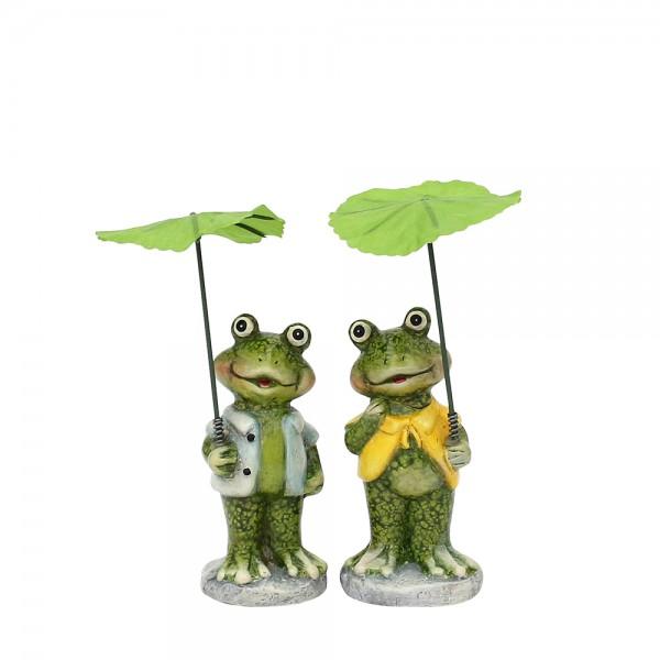 Keramik Froschfigur mit Schirm 2-fach sort. 6,6 x 5,5 x 13 cm im Set