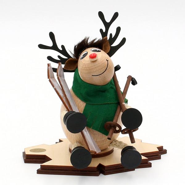 Holz Räucher-Elch Lars mit Skier 15 x 12 x 15 cm