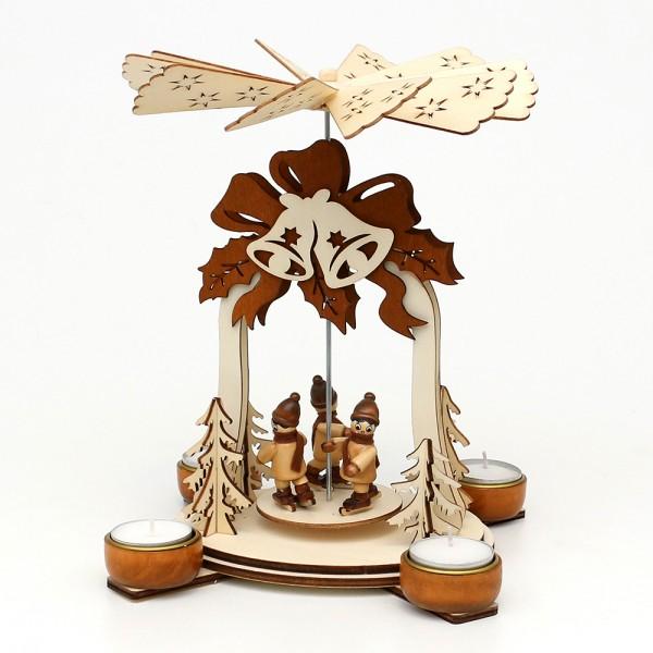 Holz Teelichtpyramide Glocke natur/braun, mit Schlittschuhkindern (Laserholz) für 4 Teelichte 19 x 19 x 25 cm