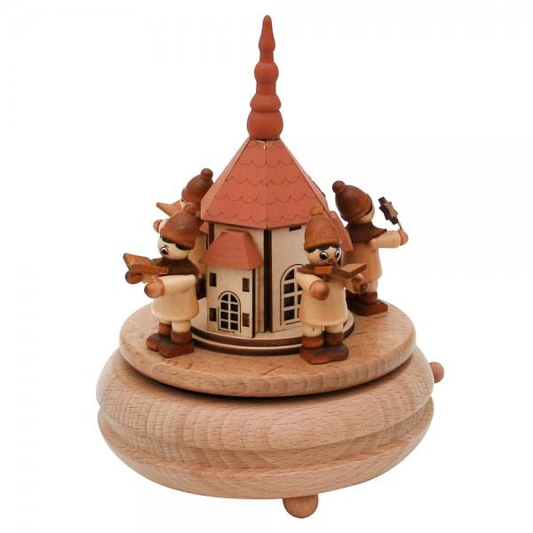 Holz Erzgebirgs-Spieldose Seiffener Kirche mit Kurrende gedrechselt 13 x 13 x 17 cm Spielwerk Oh du Fröhliche