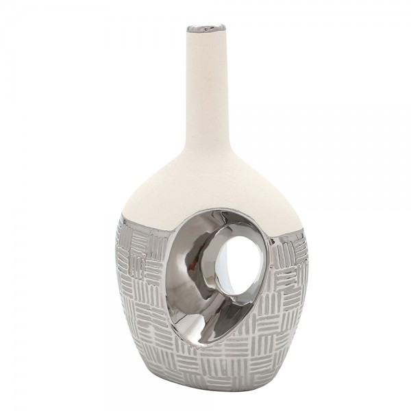 Keramik Vase Bali oval mit Loch und langem Hals 18 x 11,5 x 31 cm