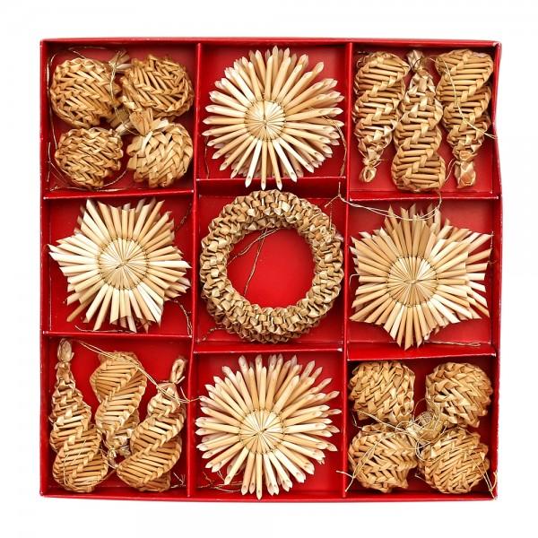 32er Set Stroh-Baumanhänger mit Goldfaden zum Anhängen 5-fach sort. 6 x 1 x 6 cm im Set
