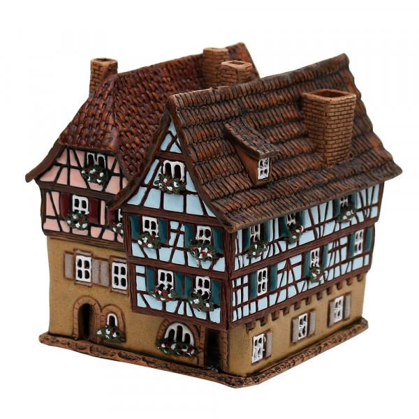 Keramik Licht-Duftölhaus (in Schornstein) Fachwerkhaus 12,5 x 14 x 12,5 cm