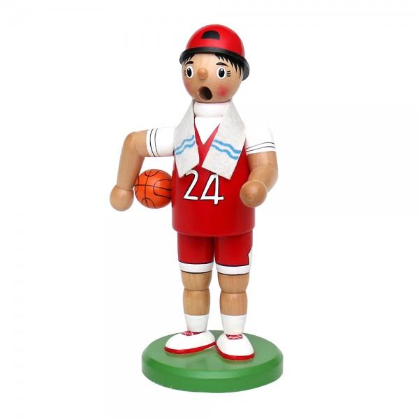 Holz Räucherfigur Basketballer, rot/weiß 7 x 11 x 19 cm