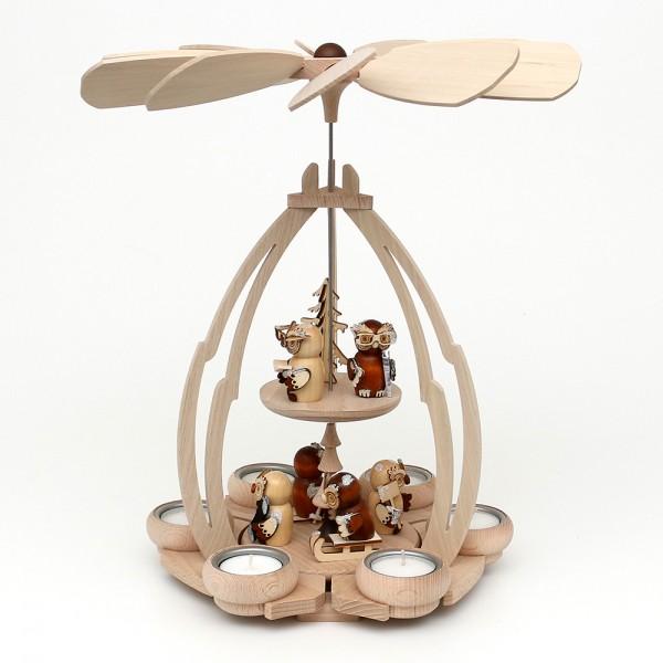 Holz Tischpyramide Eulenwald mittel für 6 Teelichte 24 x 24 x 35 cm