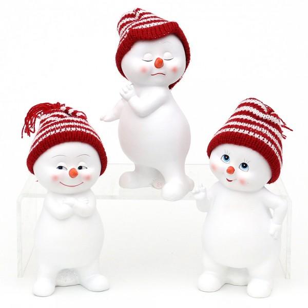 Polyresin Schneekinder mit Strickmütze rot/weiß stehend 3-fach sort. 8 x 6,5 x 15 cm im Set