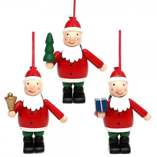 Holz Anhänger Santa rot/weiß 3-fach sort. 5 x 4 x 7 cm im Set